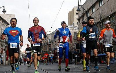 Runners take part in the international Jerusalem Marathon on March 18, 2016. (Nati Shohat/Flash90)