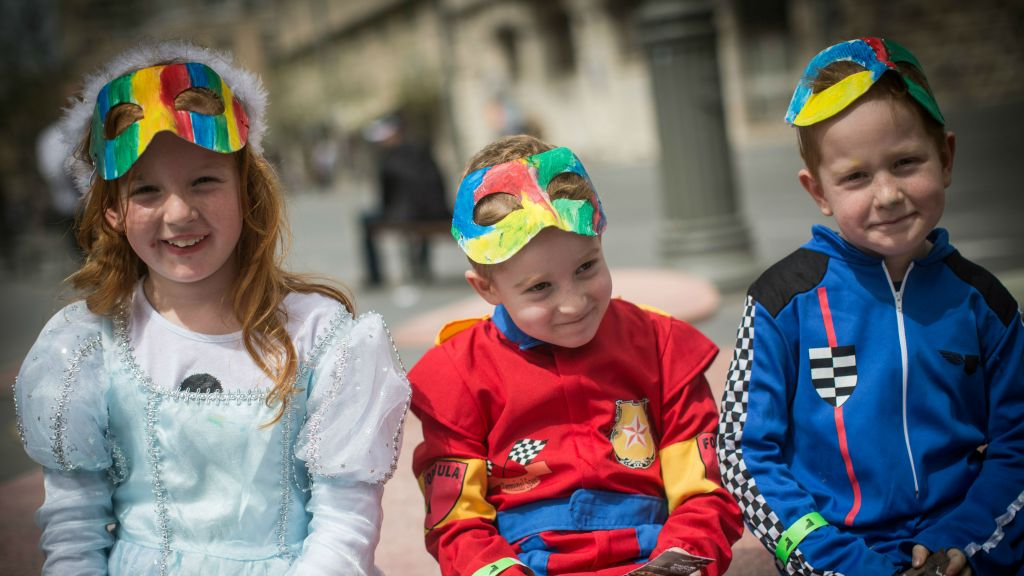 Israeli children dressed up in costumes in downtown Jerusalem during the Jewish holiday of Purim  sc 1 st  The Times of Israel & Tel Aviv comes to a halt for Purim festival | The Times of Israel