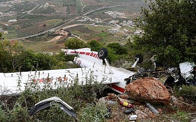 The remains of a small aircraft that crashed in the northern Israel on March 25, 2016. The pilot who died in the crash was the head of the Civil Administration Brig.-Gen. Munir Amar, 47. (Basel Awidat/Flash90)