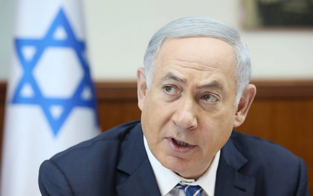 Prime Minister Benjamin Netanyahu leads the weekly cabinet meeting in Jerusalem on March 27, 2016. (Marc Israel Sellem/POOL)