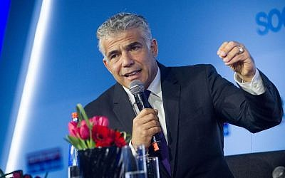 Yair Lapid, leader of the Yesh Atid party speaks at the opening of the Yedioth Aharonot conference at the Jerusalem Convention Center on March 28, 2016. (Miriam Alster/Flash90)