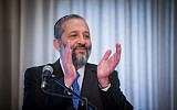 Aryeh Deri gives a statement to the media during a conference at the Ramada hotel in Jerusalem, on March 30, 2016. (Yonatan Sindel/Flash90)