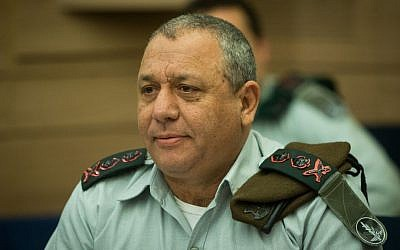 IDF Chief of Staff Gadi Eisenkot attends a Foreign Affairs and Defense Committee meeting at the Knesset in Jerusalem on March 15, 2016 (Yonatan Sindel/Flash90)