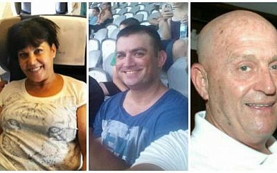 Simha Dimri (L), 60, Yonathan Suher (C), 40, and Avraham Goldman (R), 69, the three Israelis who were killed in a suicide bombing in Istanbul, March 19, 2016. (Photos courtesy of the families/Facebook via JTA)