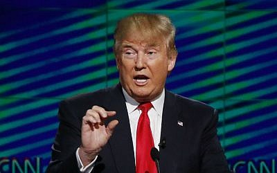 Republican presidential candidate Donald Trump speaks during the Republican presidential debate sponsored by CNN, Salem Media Group and the Washington Times at the University of Miami in Coral Gables, Florida, Thursday, March 10, 2016. (AP Photo/Wilfredo Lee)