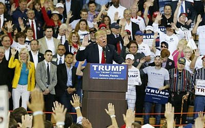 Republican presidential candidate Donald Trump at a campaign rally, Saturday, March 5, 2016, in Orlando, Florida. (AP Photo/Brynn Anderson)