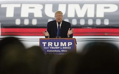 Republican presidential candidate Donald Trump speaks during a campaign stop at the Signature Flight Hangar at Port-Columbus International Airport, Tuesday, March 1, 2016, in Columbus, Ohio (AP Photo/John Minchillo)