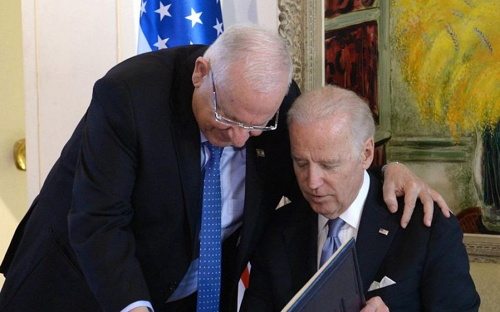 US Vice President Joe Biden and Isreali President Reuven Rivlin meet at the President's Residence in Jerusalem, March 9, 2016. (Mark Neyman/GPO)