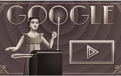 March 9, 2016 Google Doodle honoring 105th birthday of theremin virtuosa Clara Rockmore. (Google screenshot)