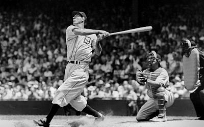 Hall of Famer Hank Greenberg batting for the Detroit Tigers in 1935. (TSN Archives/Getty Images/JTA)