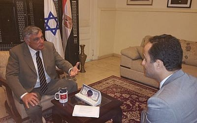 Israel's Ambassador to Egypt Haim Koren talks to BBC Arabic's Akram Shaban, March 1, 2016, in a photo posted on the Israeli Embassy's Facebook page. (Courtesy: Facebook)