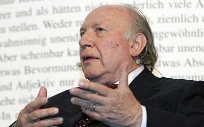 Hungarian writer Imre Kertesz attends the opening of the Book Basel fair in Basel, Switzerland, May 10, 2007. (Georgios Kefalas/Keystone via AP, file)