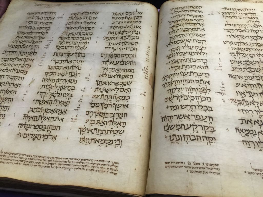 A carefully preserved, 11th century Old Testament, part of the Library's collection (Jessica Steinberg/Times of Israel)