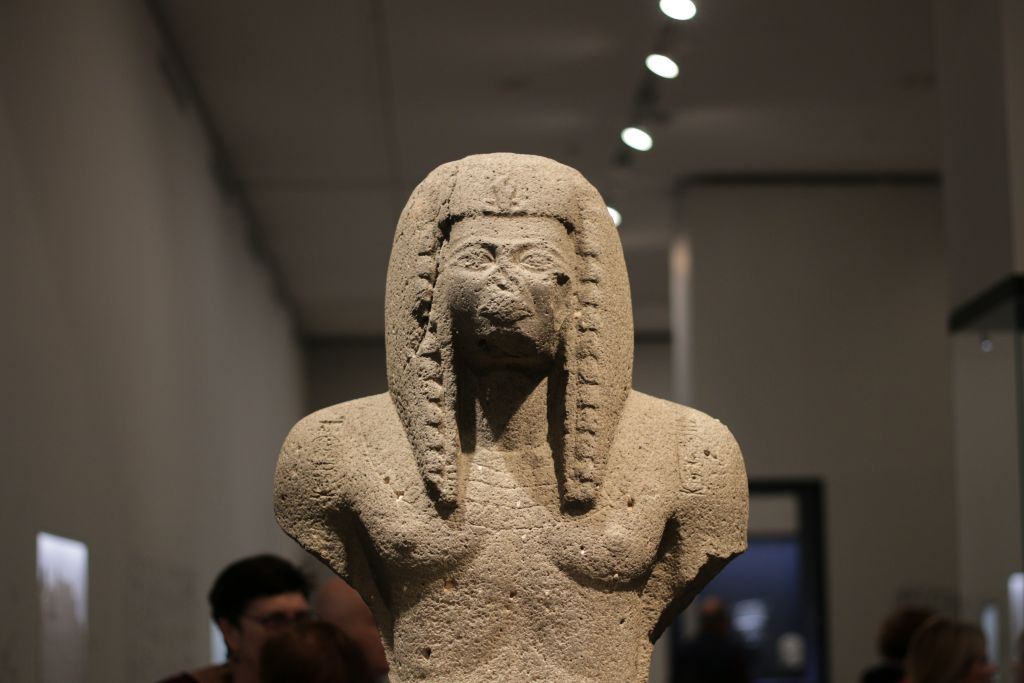 A Canaanite-made sculpture of Ramses III, made from more coarse materials than those made in Egypt (Luke Tress/Times of Israel)