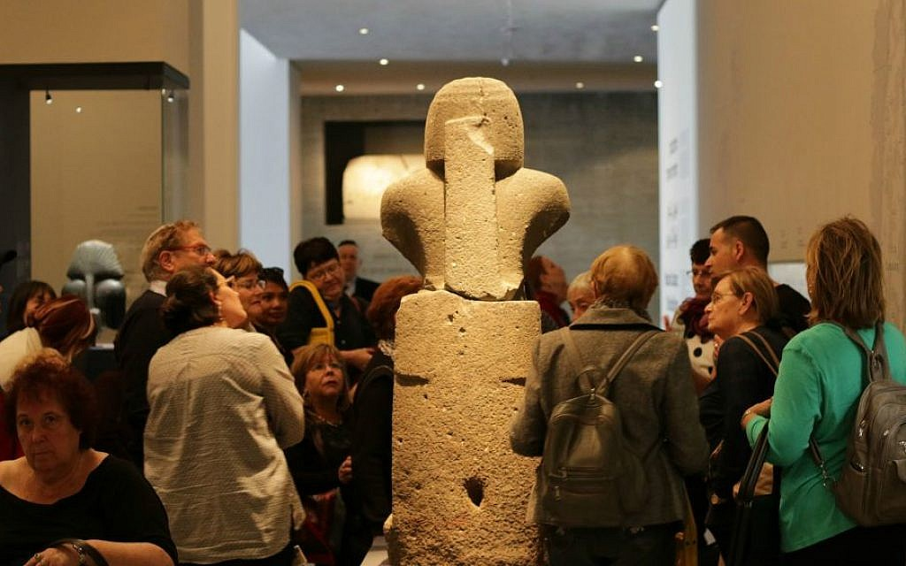 The back of a statue of Ramses III found in Canaan (Luke Tress/Times of Israel)