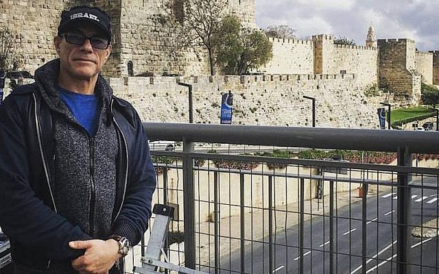 Jean-Claude Van Damme in Jerusalem, March 29, 2016. (Facebook via JTA)