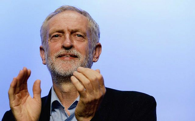 Labor Party leader Jeremy Corbyn addressing the TUC Conference at The Brighton Centre in Brighton, England, on September 15, 2015. (Mary Turner/Getty Images via JTA)