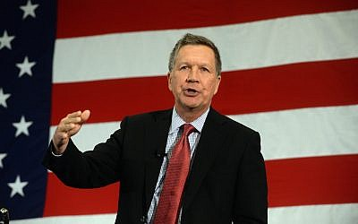 Republican presidential candidate John Kasich speaks at the First in the Nation Republican Leadership Summit April 18, 2015 in Nashua, New Hampshire. (Darren McCollester/Getty Images via JTA)