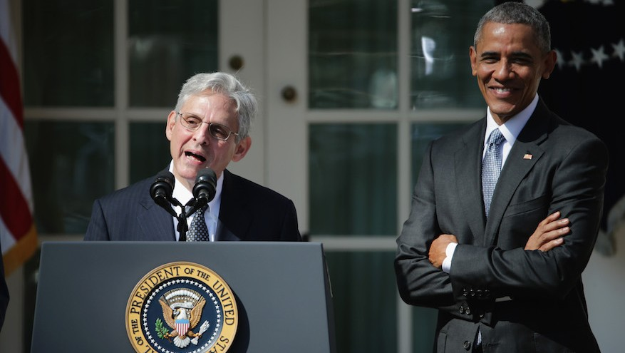 Judge Merrick B. Garland speaks after being nominated to the US Supreme Court as President Barack Obama looks on, in the Rose Garden at the White House, March 16, 2016 (Chip Somodevilla/Getty Images, via JTA)