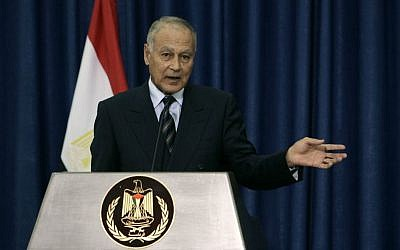 In this Thursday, October 28, 2010 file photo, then Egyptian foreign minister and current Arab League Secretary-General Ahmed Aboul Gheit speaks during a joint press conference with Palestinian President Mahmoud Abbas in the West Bank city of Ramallah.  (AP Photo/Majdi Mohammed, File)
