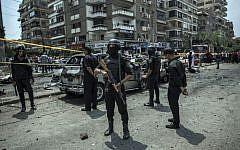 Illustrative: Egyptian policemen in Cairo, June 29, 2015. (AP/Eman Helal, File)