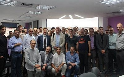 Ambassador of Belgium, Mr. John Cornet d'Elzius, Beta Group, Investors, VC's and Entrepreneurs visit the Nazareth Business Incubator Center, May 12, 2015 (Courtesy)