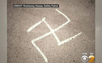Illustrative: A swastika discovered in a heavily Jewish community in suburban New York on Tuesday March 8, 2016. (screen capture: CBSNews New York)