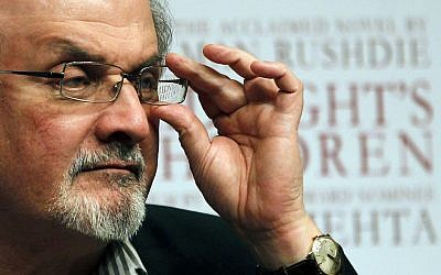 "In this Tuesday, Jan. 29, 2013 file photo, author Salman Rushdie attends a promotional event for ""Midnight's Children"" in Mumbai, India. (AP Photo/Rajanish Kakade, file)"