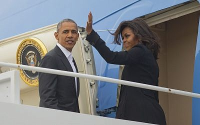 President Barack Obama first lady Michelle Obama board Air Force One, Sunday, March 20, 2016, at Andrews Air Force Base, Md. (AP Photo/Pablo Martinez Monsivais)