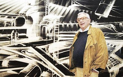 "In this Oct. 31, 2002 file photo, German-born British Jewish film designer Ken Adam stands in front of one of his futuristic designs at the exhibition ""James Bond - Berlin - Hollywood"" in the Martin-Gropius-Bau museum in Berlin. (AP Photo/Jens Meyer, File)"