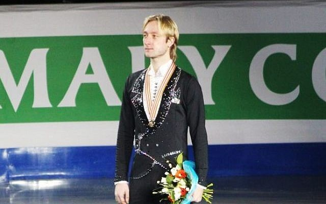 Evgeni Plushenko, Russia's two-time Olympic figure skating champion at the 2012 European Championships medal ceremony on January 28, 2012. (Dahmeli/Wikimedia commons)
