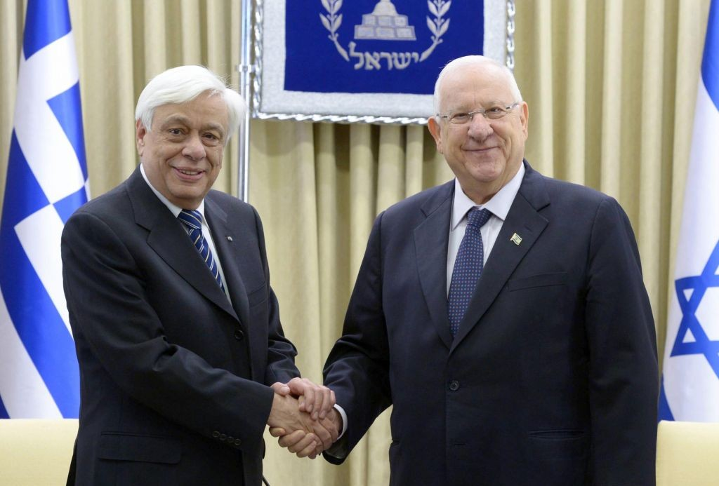President Reuven Rivlin meets with Greek President Prokopios Pavlopoulos in his Jerusalem residence on Wednesday, March 30, 2016 (Mark Neiman/GPO)