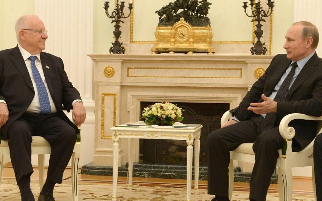 Israel won't allow Iran, Hezbollah on Syrian border, Rivlin tells Putin