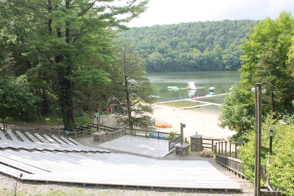 The waterfront at Camp Ramah in the Berkshires includes a wide variety of inflatable toys and surf kayaks. (Uriel Heilman/JTA)
