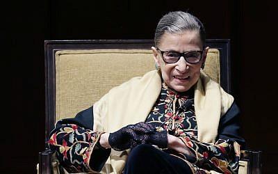 Ruth Bader Ginsburg at the University of Michigan in Ann Arbor, Michigan, Feb. 6, 2015. (Carlos Osorio/AP Images via JTA)