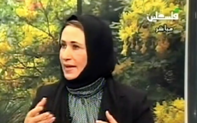 Palestinian Legislative Council MP Najat Abu Bakr speaks to Palestinian media in 2010 (Screen capture: YouTube)