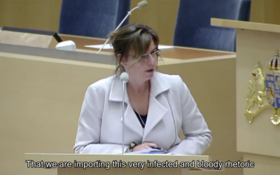 Swedish Minister for International Development Cooperation Isabella Lövin speaking in parliament at a debate about Stockholm's assistance to Ramallah, March 4, 2016 (Screen grab YouTube)