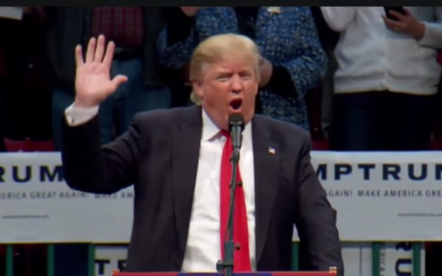 Republican presidential candidate Donald Trump calls on supporters in North Carolina to pledge to vote for him on March 7, 2016. (screen capture: YouTube)