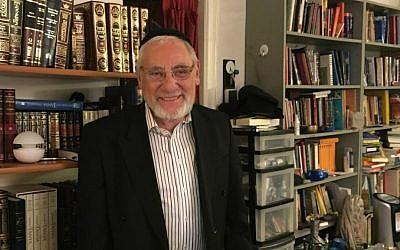 Rabbi Burt Siegel in his apartment on the Upper East Side of Manhattan (Cathryn J. Prince/Times of Israel)