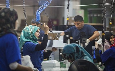 Employees at the SodaStream factory in Israel's Negev Desert next to the city of Rahat. (Dan Balilty/AP Images via JTA)