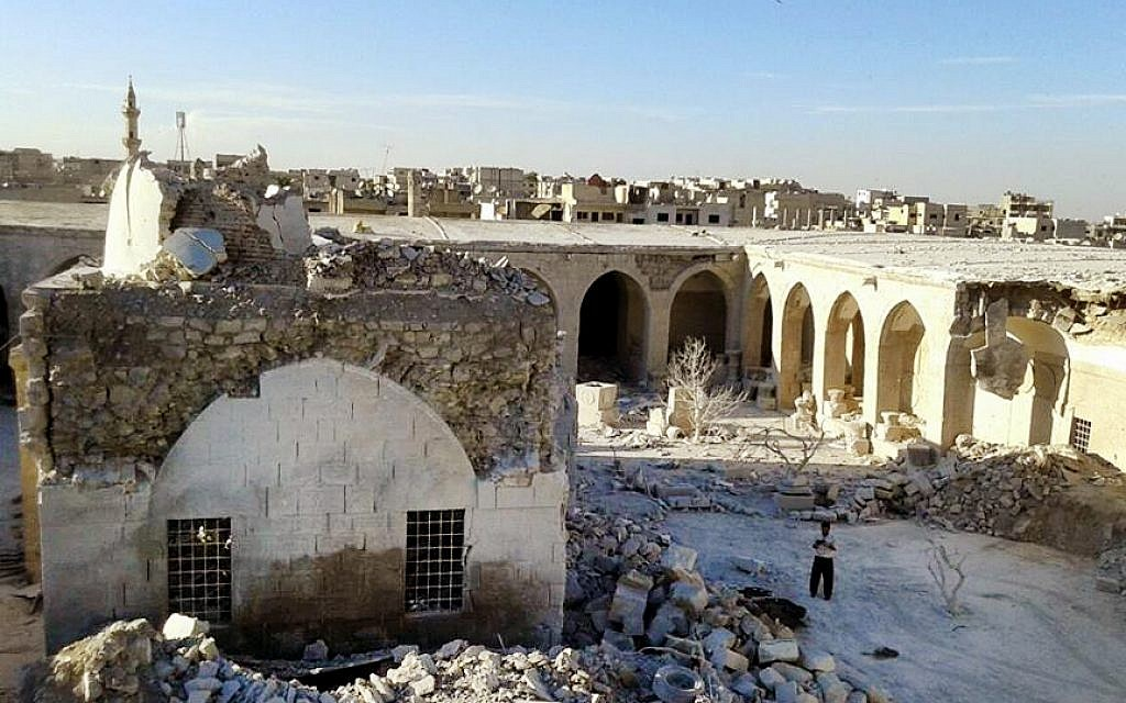 The courtyard of the Maarat al-Numan Mosaics Museum in Idlib province, Syria after it was hit by government bombing, June 16, 2015. (The Day After Heritage Initiative via AP)