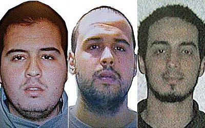 (Left to right) Khalid El Bakraoui, Ibrahim El Bakraoui and Najim Laachraoui in a photo distributed by Belgian authorities. (Belgian Federal Police)