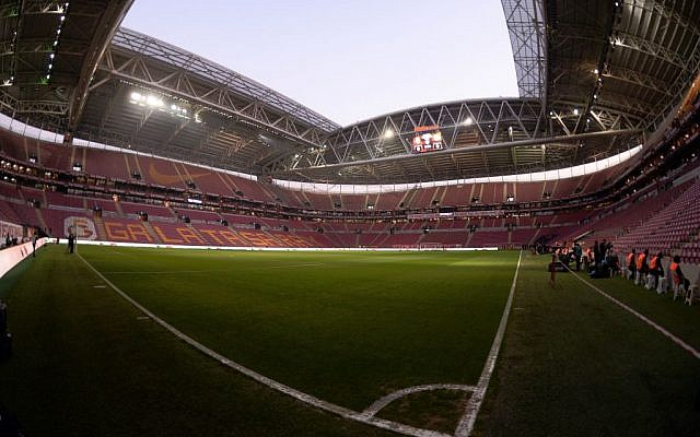 Galatasaray's Turk Telekom Arena Stadium two hours before the high-profile soccer match between two major Turkish teams, in Istanbul, March 20, 2016 (AP)