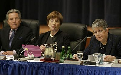 (From left to right): Hadi Makarechian, Charlene Zettel, and University of California President Janet Napolitano listen to public comments during a Board of Regents meeting in San Francisco, March 23, 2016. (AP/Eric Risberg)