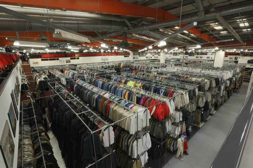 There are more than eight miles of costumes stored on the Angels' warehouse rails. (courtesy)