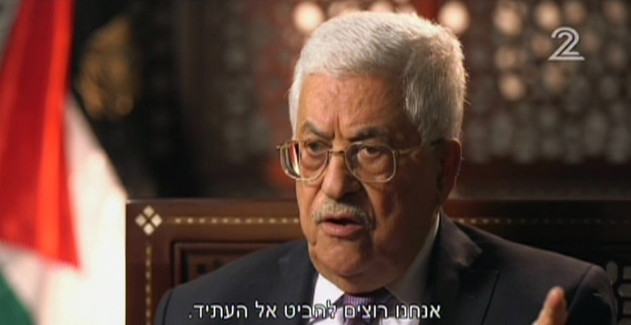 Mahmoud Abbas speaking to Israeli television, in an interview aired on March 31, 2016. (Screen capture: Channel 2)
