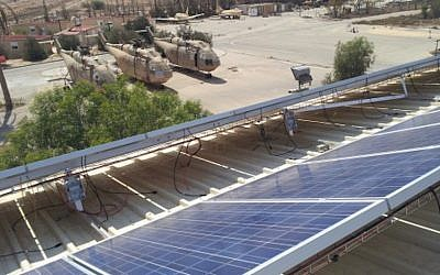 A solar array at an Israel Air Force base (Courtesy)