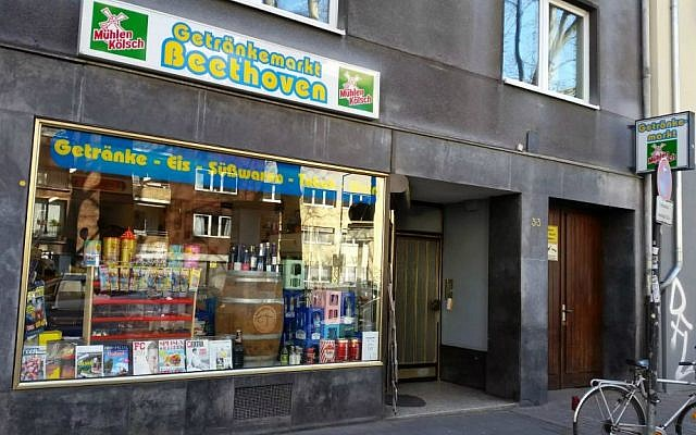 Tehran native Kambiz Alizadeh's Getränkemarkt Beethoven convenience store near the Roonstrasse synagogue in Cologne, Germany (Raphael Ahren/TOI)