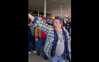 Donald Trump supporter shout, 'Go to Auschwitz!' following a rally for the leading Republican candidate on March 12, 2016. (Screen capture: Sakir Khader/Twitter)