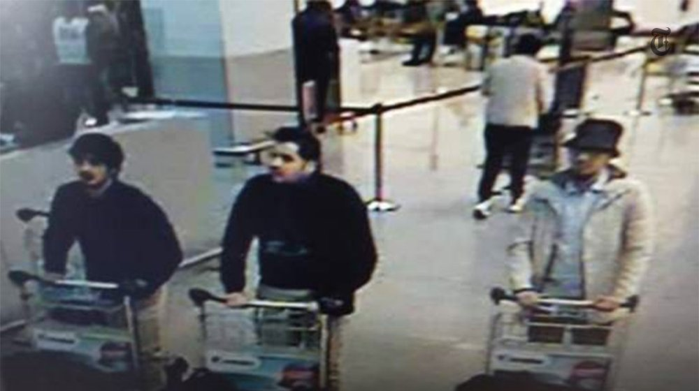 A picture taken off CCTV showing suspects in the Brussels airport attack on March 22, 2016. (Screenshot from YouTube)